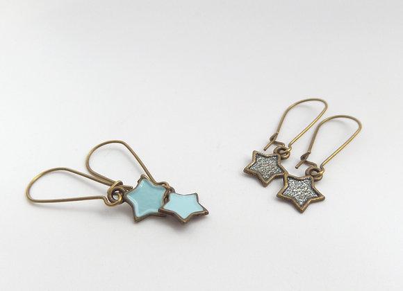 Antique Bronze Star Earrings, Brass Dangle Kidney Earrings