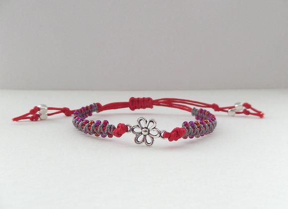 Tibetan Silver Daisy Flower Bracelet, Beaded Macrame, Red Cord Bracelet