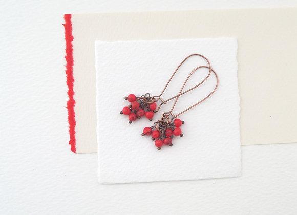 Semi Precious Red Antique Copper Kidney Wire Earrings