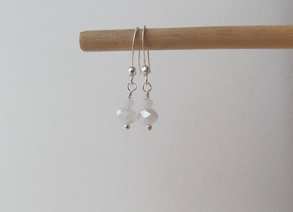 Dainty White Crystal Earrings, Opaque White Dangle Silver Earrings