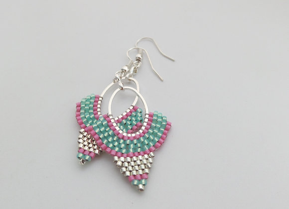 Turquoise and Hot Pink Dangle Silver Earrings