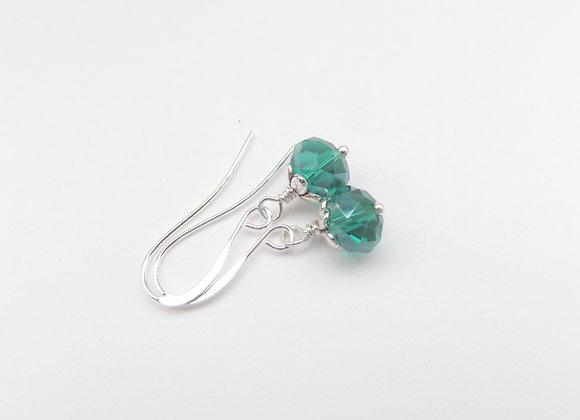 Teal Green Earrings, Crystal Dangle Silver Earrings