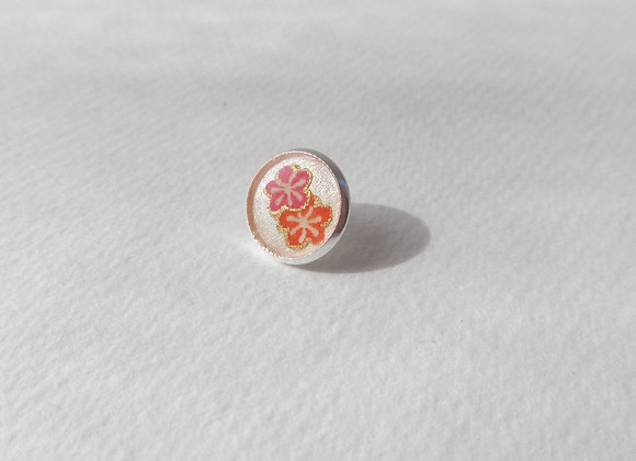Coral Flower Silver Tie Tack, Clutch back Brooch Pin, Badge