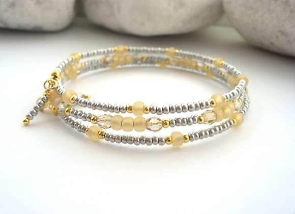 Grey and Citrine Gold Bangle/Bracelet Set