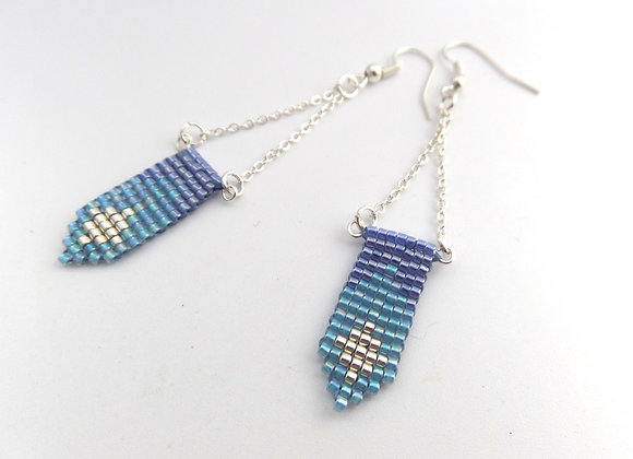 Blue and Turquoise Long Dangle Silver Earrings