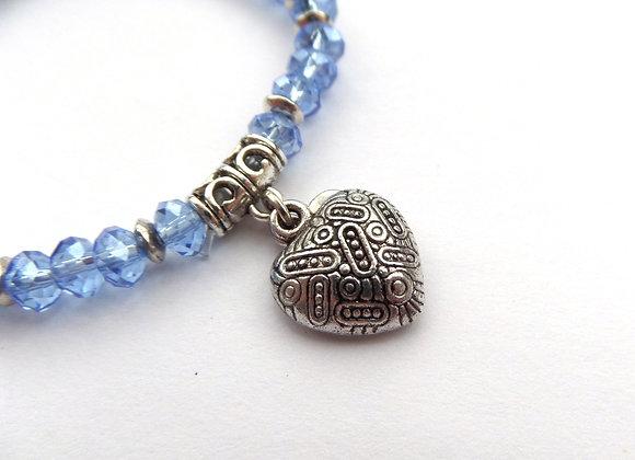 Blue Crystal Stretch Bracelet, Boho Antique Silver Heart Elastic Bracelet