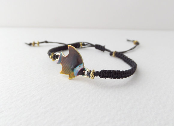Macramé Tropical Fish Bracelet, Black Cord Bracelet