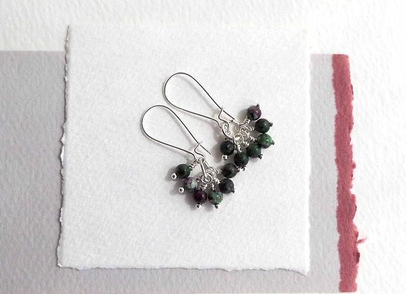 Ruby In Ziosite Earrings, Silver Kidney Wire Earrings