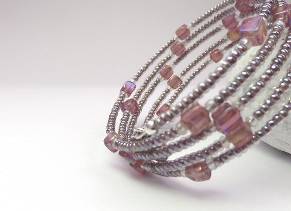 Mauve and Mink, Silver Small Bangle/Bracelet