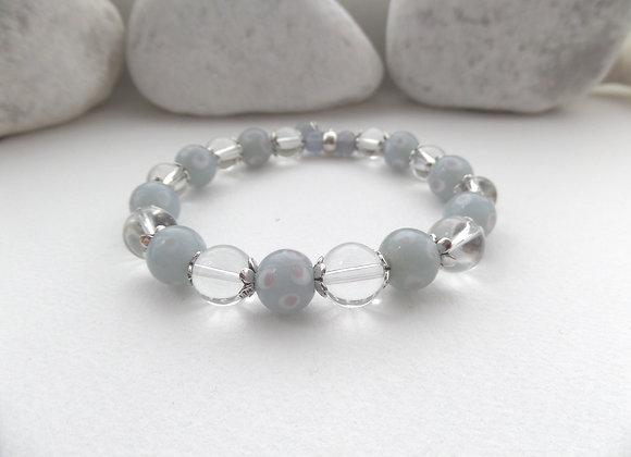 Grey Stretch Bracelet, Antique Silver and Clear Smooth Crystal Elastic Bracelet
