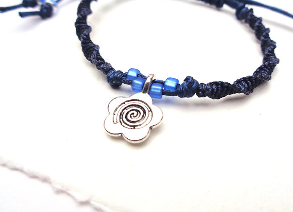 Silver Charm Macrame Adjustable Cord Bracelet