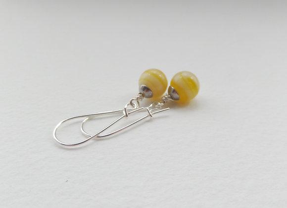 Yellow Earrings, Silver Kidney Hook Silver Earrings