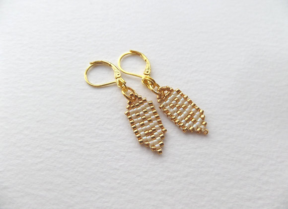 Gold and Ivory Earrings, Bead woven Gold French Fittings, dangle earrings