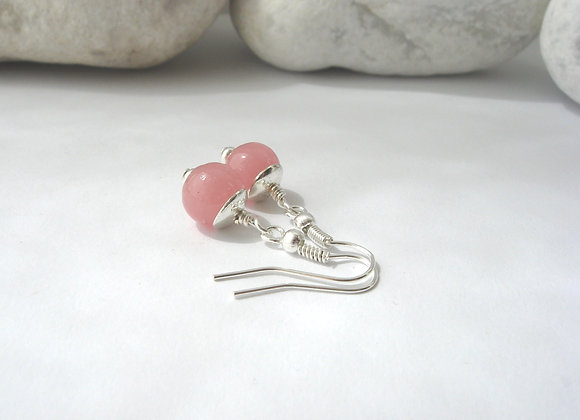 Candy Pink and Silver Dangle Silver Earrings