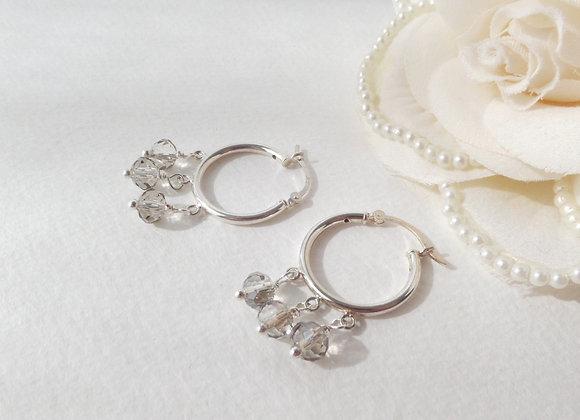Sterling Silver Hoop Earrings, Black Diamond Crystal Hoops