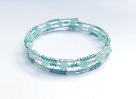 Aqua Opal Crystal Bracelet, Mint Green Memory Bangle