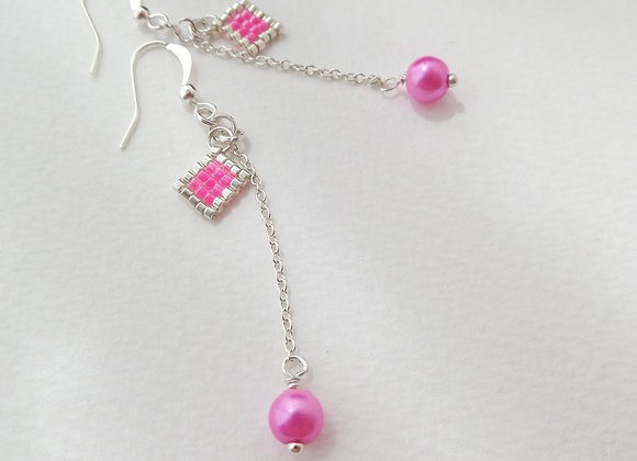 Hot Pink and Silver Dangle Silver Earrings