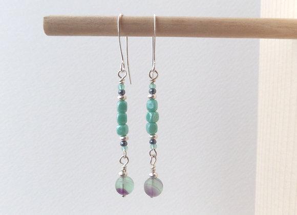 Mint Green Earrings, Long Silver Dangle Earrings
