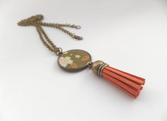 Rust Brown Tassel, Antique Bronze Olive Floral Necklace