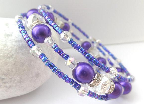 Royal Purple Silver Memory Bangle, Pearl and Crystal Set