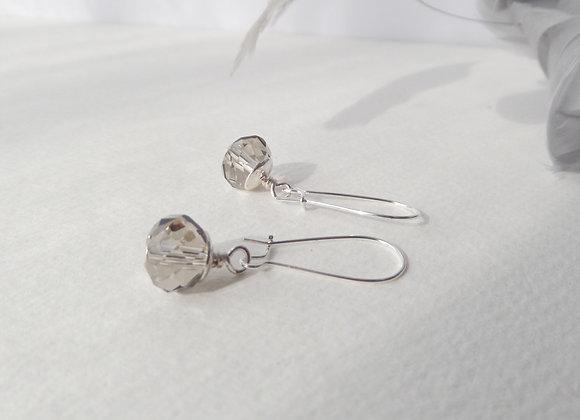 Grey Crystal Earrings, Silver Kidney Hook Silver Earrings