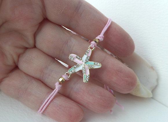 Gold Starfish Bracelet, Aqua and Pink Cord Bracelet, Enamelled Gold Starfish
