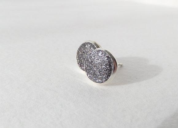 Grey Silver Studs, Druzy, Small Round Stud Earrings, 8mm earrings