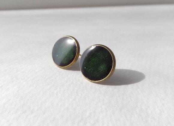 Hunter Green Studs, Dark Green Antique Bronze Stud Earrings, half inch earrings