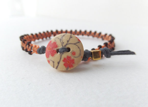 Grey and Orange Bracelet, Matt Black Beads and Grey Cotton Bracelet