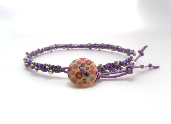 Purple Cotton Cord Bracelet, Beaded Macramé Bracelet