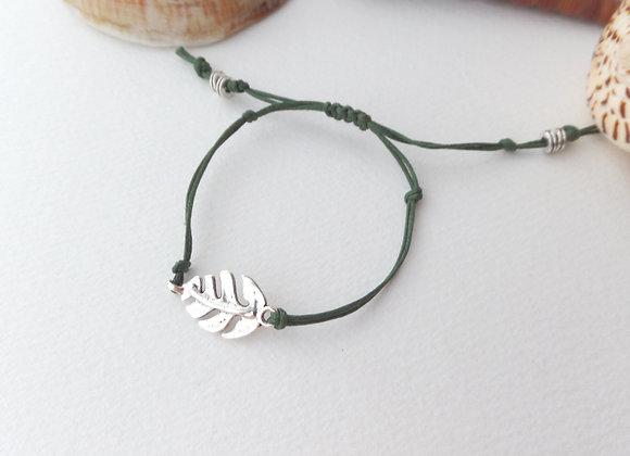 Silver Leaf Cotton Cord Bracelet
