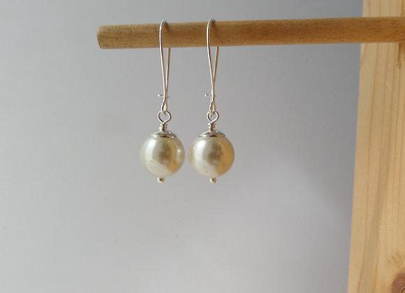 Ivory Pearl Earrings, Silver Kidney Hook, Silver Earrings