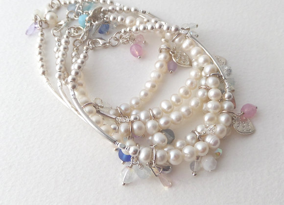 Pearl Bracelet, Beaded Silver Toggle Clasp Bracelet with charms