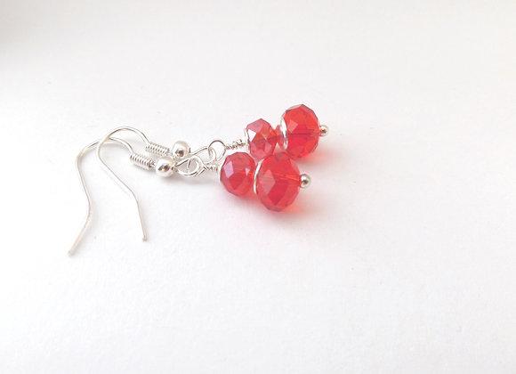 Red Crystal Silver Earrings, Silver Hook Fittings