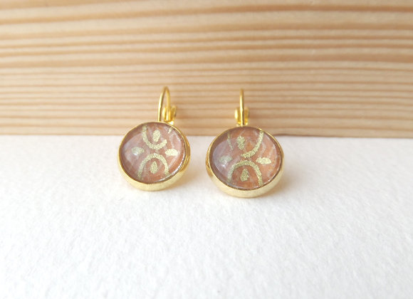 Japanese Brown and Gold Earrings, hinged dangle earrings