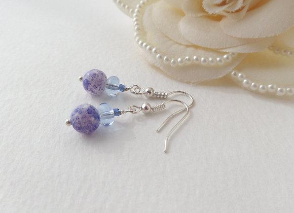 Blue Silver Earrings, Silver Hook Fittings, dangle drops