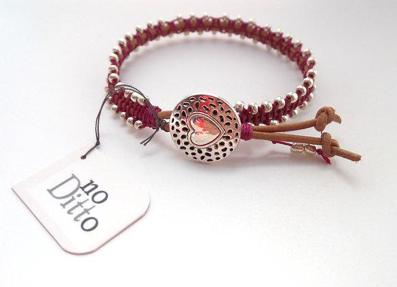 Magenta Bracelet, Natural Leather, Silver Macramé, Clasp Bracelet