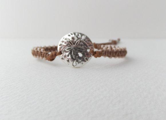Silver Sand Dollar Bracelet, Beaded Brown Macrame, Brown Cord Bracelet