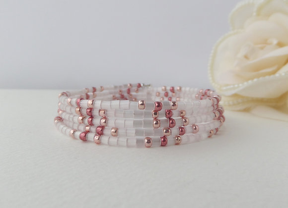 Shell Pink and Metallic Beaded Bracelet, Memory Bangle