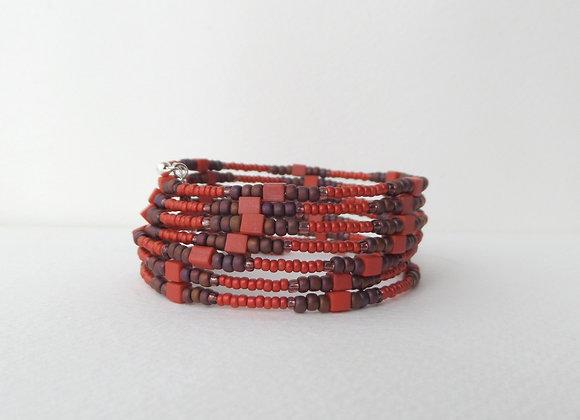 Brick Red Bangle, Burnt Orange Bracelet, Brown and Orange Memory Bangle