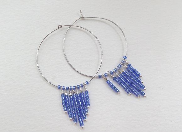 Mid Blue Earrings, Fringed Hoop Silver Earrings.