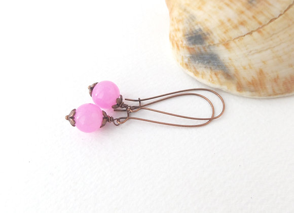 Candy Pink Antique Copper Kidney Wire Earrings