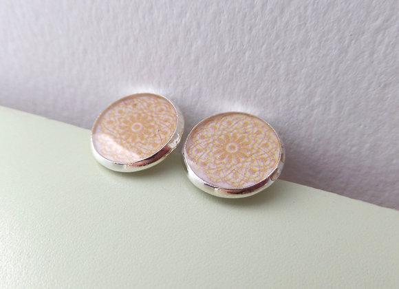 Yellow Studs, Lace Silver Stud Earrings, half inch earrings