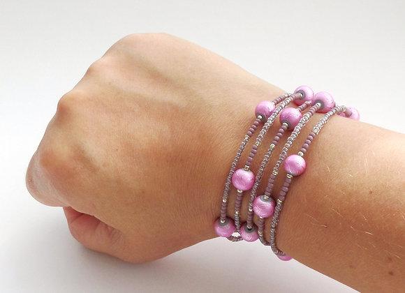 Pink & Lavender Beaded Silver Memory Bangle