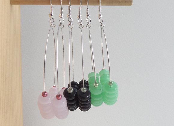Silver Hoop Earrings, Dangle Hoop Hook Earrings