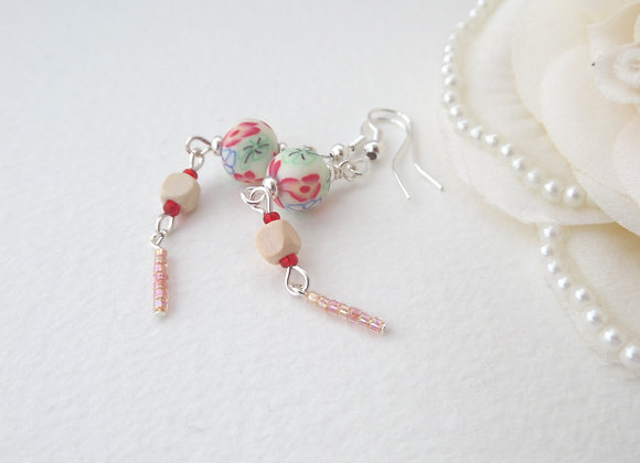 Cream and Red Earrings, Long Silver Dangle Earrings