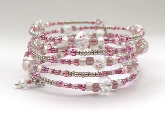 Pink and Clear Crystal, Silver Memory Bangle