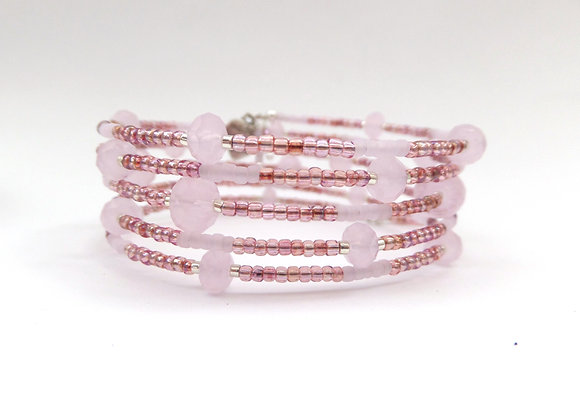 Pink Crystal, Raspberry & Pink Opal, Silver Memory Bangle