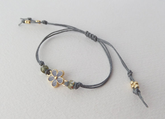 Gold Daisy Bracelet, Grey Enamel, Green Beaded, Grey Cord Bracelet