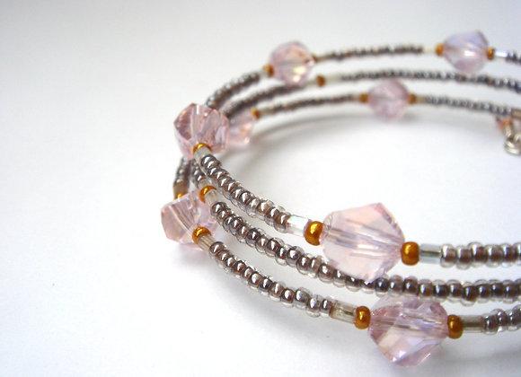 Pink Crystal Bracelet, Mink Slim Memory Bangle